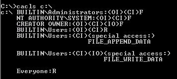 `cacls' showing `FILE_APPEND_DATA' on Windows 2003