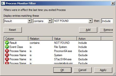 Process Monitor filter
