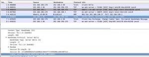 ServerHello showing the SSL cipher suite