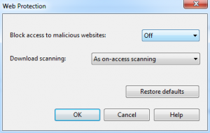 """Web Protection"" Dialogue Box"
